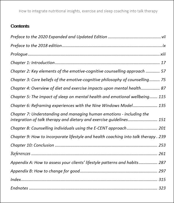 Contents page, lifestyle counselliong book